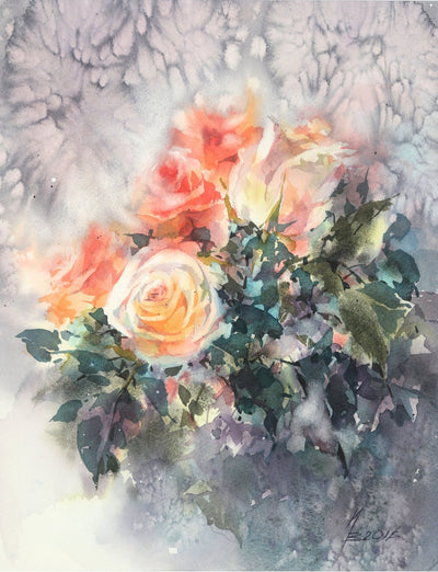 Watercolor garden art for sale by Inna Petrashkevich from Belarus. Pink and Red Roses