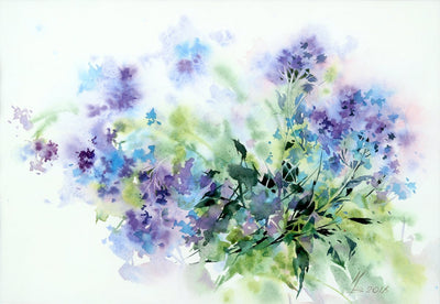 Watercolor garden art for sale by Inna Petrashkevich from Belarus. Purple, navy and blue flowers