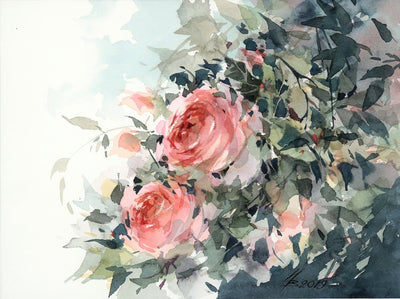 Watercolor garden art for sale by Inna Petrashkevich from Belarus. Roses