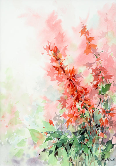 Watercolor garden art for sale by Inna Petrashkevich from Belarus. Salvia September Fire