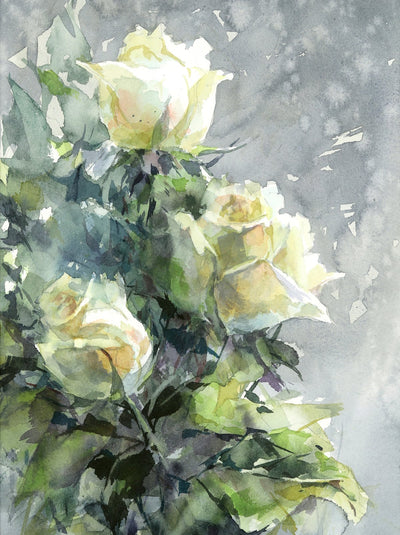Watercolor garden art for sale by Inna Petrashkevich from Belarus. White Roses