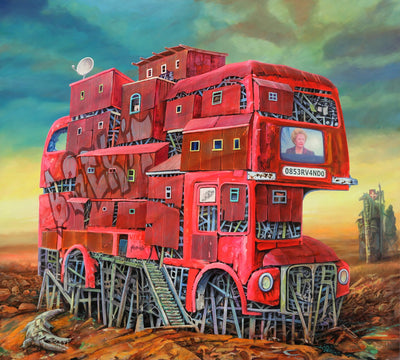 Dystopian art for sale by Lobsang Durney. Red double decker bus with Margaret Thatcher on TV and BREXIT sign. Main view