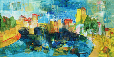 Intuitive painting for sale by Tavalina in acrylic.  Castelvecchio in Verona Italy, painterly colorful landscape.