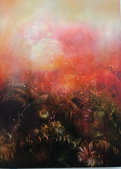 Underwater fantasy art for sale by Linda Larson oil on panel.  Shades of red and pink wild botanicals, bottom of ocean