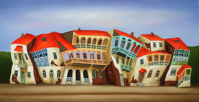 Georgian artist George Abramidze art for sale, oil.  Dancing houses with balconies, blue sky, red roofs. Landscape