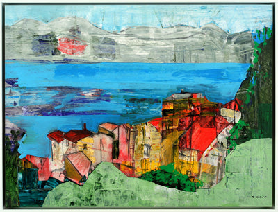 Intuitive painting for sale by Tavalina in acrylic.  Garda Lake in Northern Italy, painterly landscape and red roof house