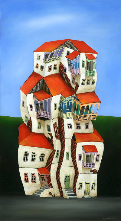 Georgian artist George Abramidze art for sale, oil.  Dancing houses with balconies, blue sky, red roofs. Darker