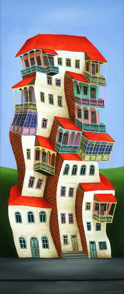 Georgian artist George Abramidze art for sale, oil.  Dancing houses with balconies, blue sky, red roofs. Vertical