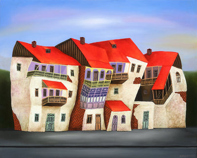 Georgian artist George Abramidze art for sale, oil.  Dancing houses with balconies, blue sky, red roofs. Horizontal