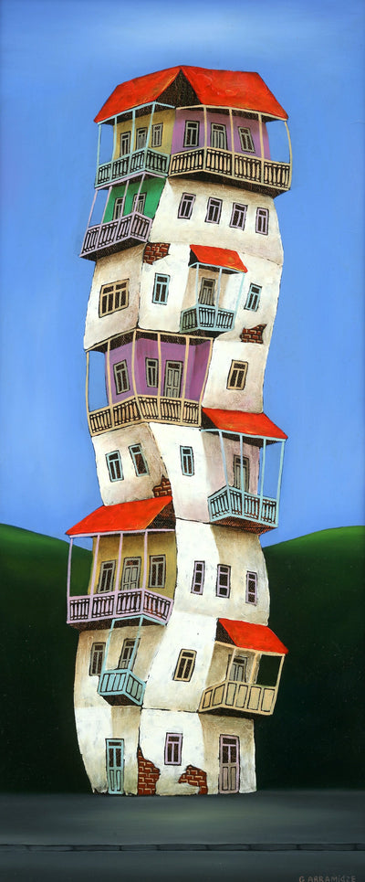 Georgian artist George Abramidze art for sale, oil.  Dancing houses with balconies, blue sky, red roofs. Skinny