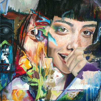 San Francisco Artist Nora Bruhn art for sale, acrylic.  Cute girl portrait with face reflection biting her fingers