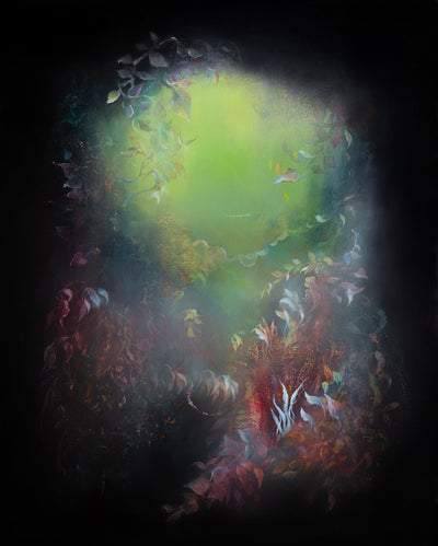 Underwater fantasy art for sale by Linda Larson oil on panel.  Green and blue light from the Bottom of the ocean