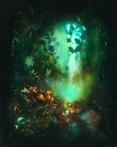 Underwater fantasy art for sale by Linda Larson oil on panel.  Shades of green glow from the bottom of the ocean