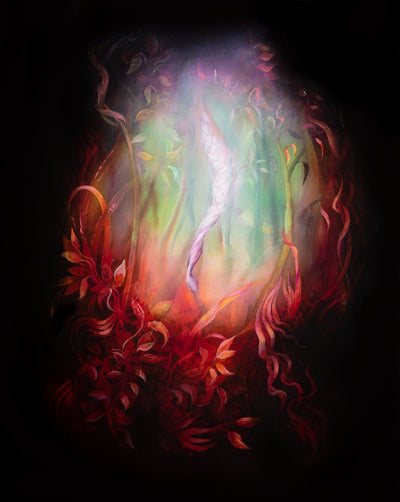 Underwater fantasy art for sale by Linda Larson oil on panel.  Pink, purple glow from the bottom of the ocean