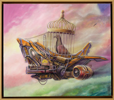 Dystopian art for sale by Lobsang Durney. Pigeon in a cage flying in a mechanical airplane in pink sky. Main view