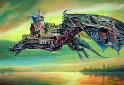 Dystopian art for sale by Lobsang Durney.  A green mechanical dragon flying over river with a castle on its back. Main view