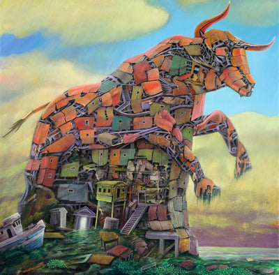 Dystopian art for sale by Lobsang Durney. Red mechanical bull, surreal landscape and abandoned ship.  Main view