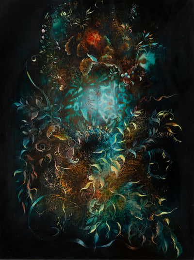 Underwater fantasy art for sale by Linda Larson oil on panel.  Black background bouquet wild botanicals, bottom of ocean