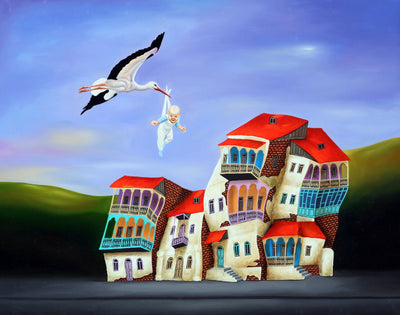 Georgian artist George Abramidze art for sale, oil.  A white spork carrying a newborn baby above dancing houses