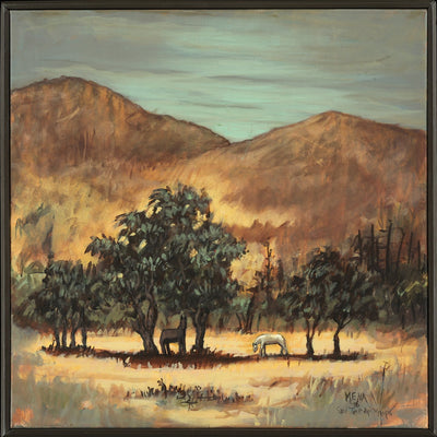 Chilean landscape by Eduardo Mena.  Brown and yellow oil painting.  Horses are grazing