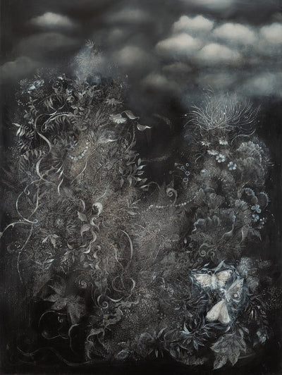 Underwater fantasy art for sale by Linda Larson oil on panel.  Monochromatic black and white plants the bottom of the ocean
