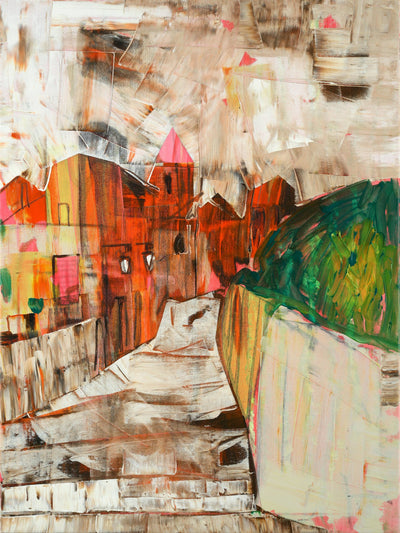 Intuitive painting for sale by Tavalina in acrylic.  Colorful painterly landscape in Umbria Italy, city street. Main view