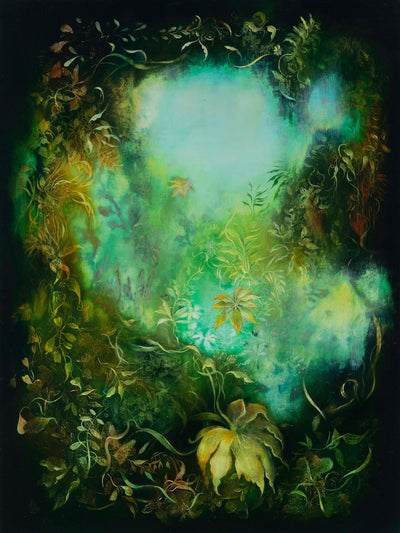Underwater fantasy art for sale by Linda Larson oil on panel.  Shades of green wild botanicals, bottom of ocean