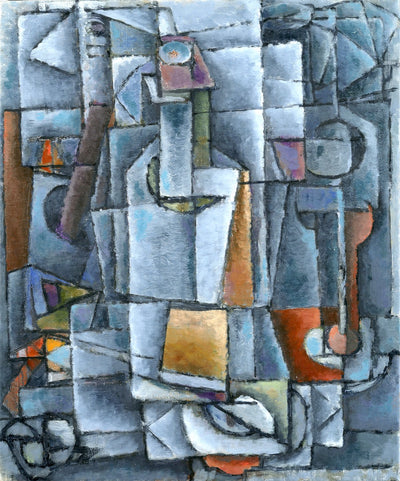 Cubism paintings by American artist for sale. Grey and orange still life. Small bottle