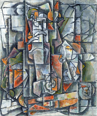 Cubism paintings by American artist for sale. Grey and orange still life