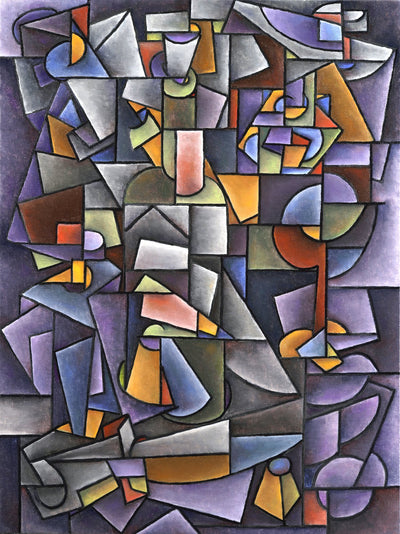 Cubism paintings by American artist for sale. Purple still life with a bottle and fruits