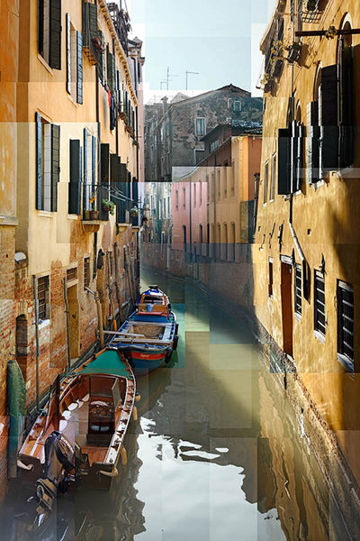 Pep Ventosa Cubist photography, aluminum panel for sale. Rio de la Madoneta canal in Venice.