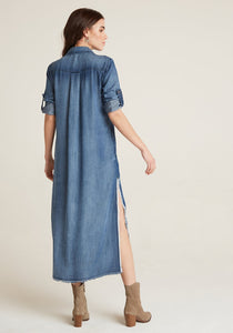 W Frayed Duster Dress