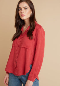 W Pocket Flowy Button Down Chili Pepper