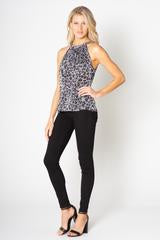 W Leopard Tie Back Top