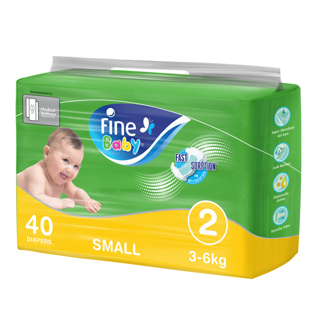 Fine Baby Diapers, Size 2, Small 3-6kg, Economy Pack of 40 diapers