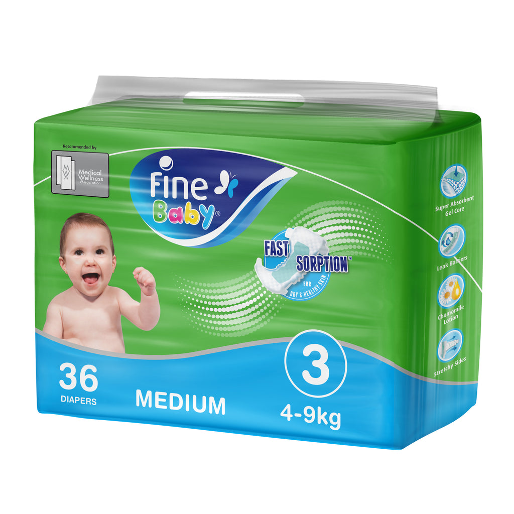 Fine Baby Diapers, Size 3, Medium 4-9kg, Economy Pack of 36 diapers