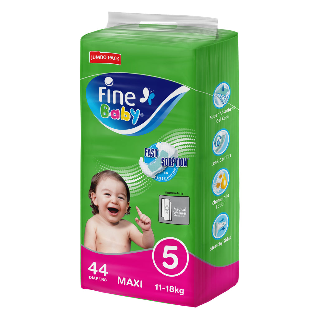 Fine Baby Diapers, Size 5, Maxi 11-18kg, Jumbo Pack of 44 diapers