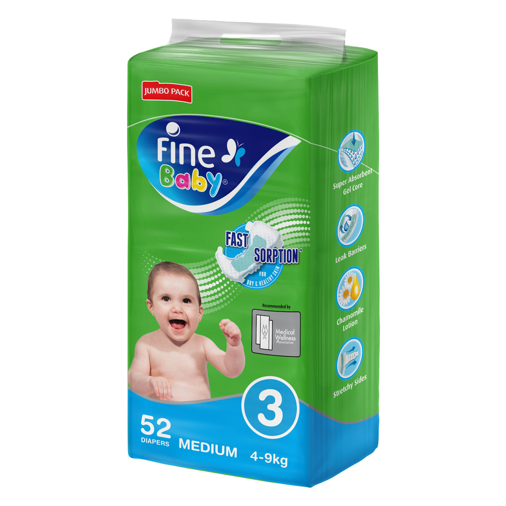 Fine Baby Diapers, Size 3, Medium 4-9kg, Jumbo Pack of 52 diapers