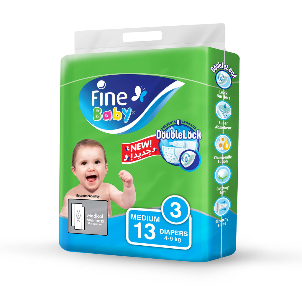 Fine Baby Diapers, Size 3, Medium 4-9kg, Travel Pack, 13 Diapers