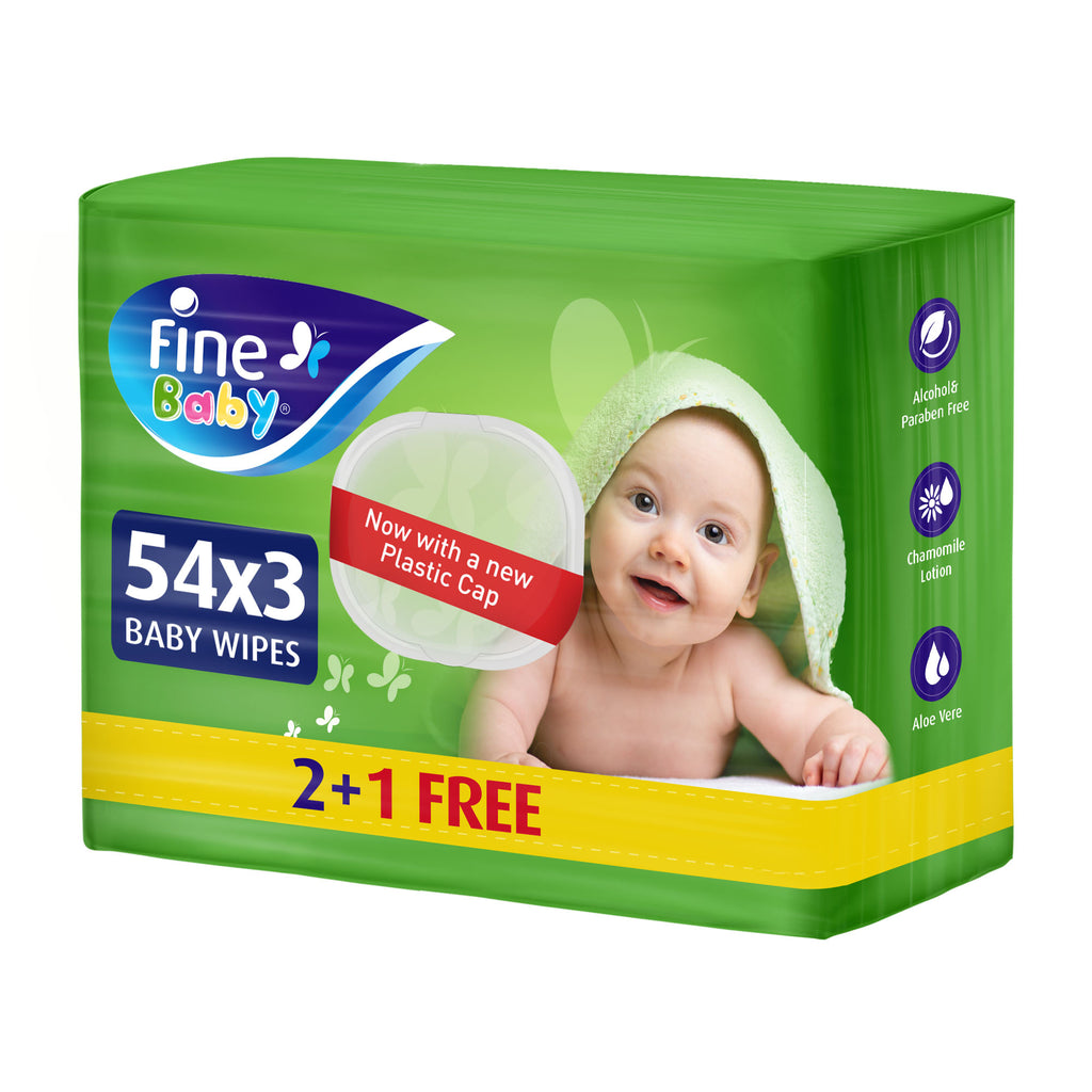 Fine Baby, Wet Wipes, with Aloe Vera & Chamomile Lotion, 54 Wipes 1 Ply, 2+1 Free