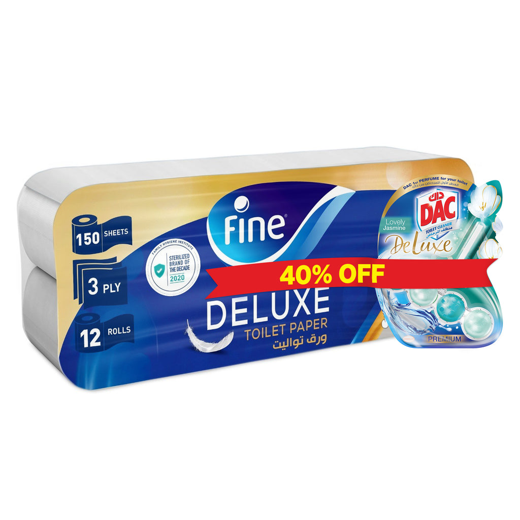 Promo Bundle, Fine Sterilized Toilet Paper, Deluxe, Pack of 12 + DAC Lovely Jasmine Rim block Toilet Cleaner