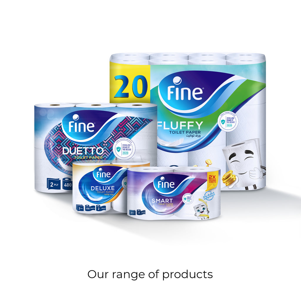 Fine, Sterilized Toilet Paper, Duetto, 340 Sheets, 2 Ply, Pack of 12 Rolls