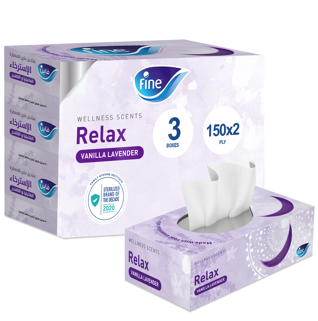 Wellness Scents Relax, Vanilla Lavender, 120X2 Ply Facial Tissues, Pack of 3