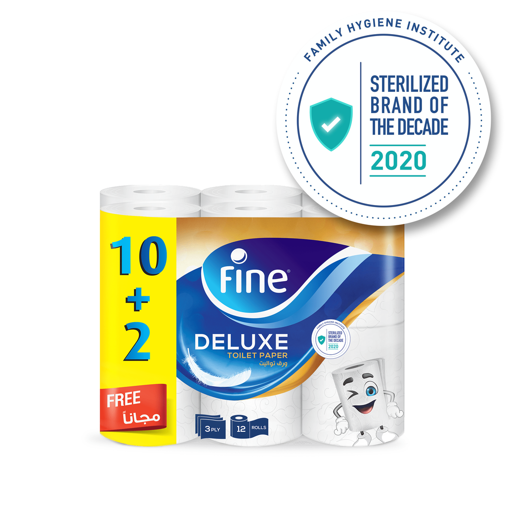 Fine, Toilet Paper, Deluxe, 150 sheets x3 Ply, 10 + 2 Offer