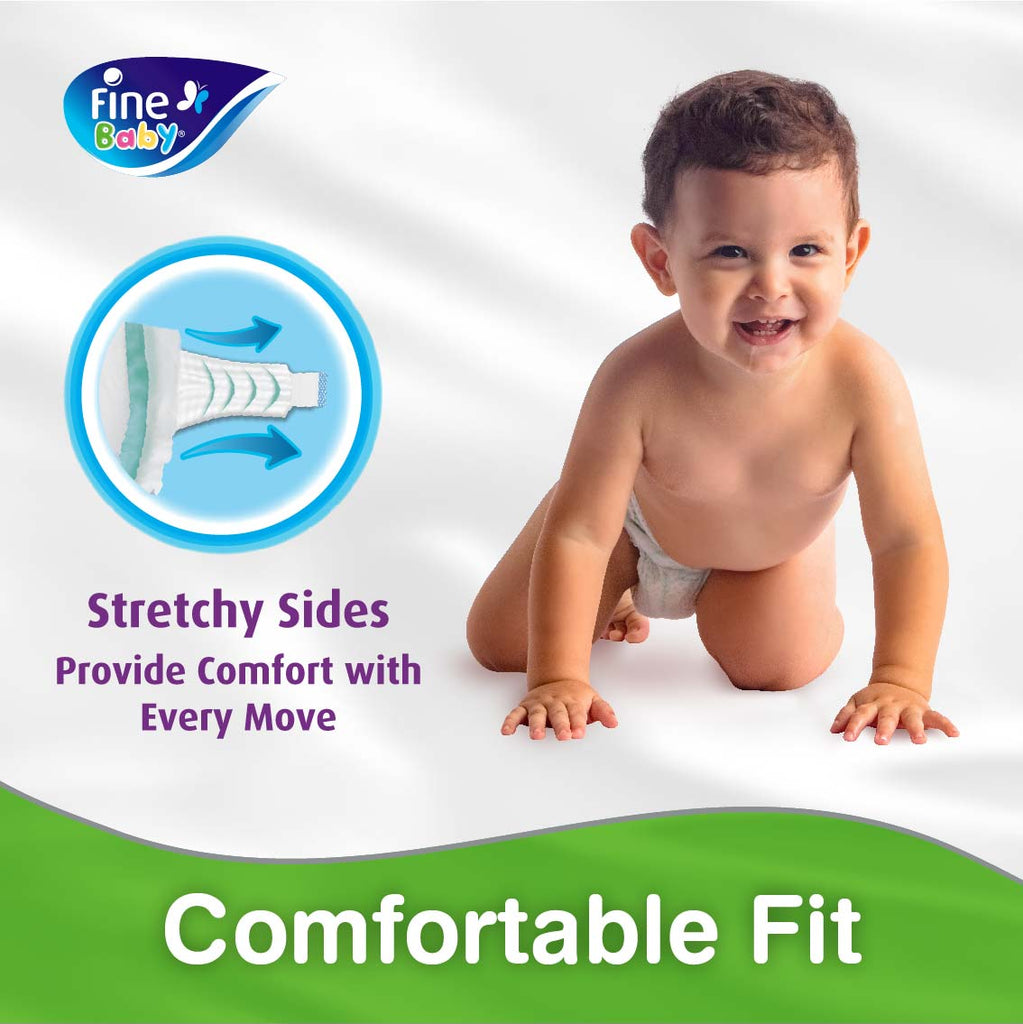 Fine Baby Diapers, Size 4, Large 7-14kg, Travel Pack, 12 Diapers