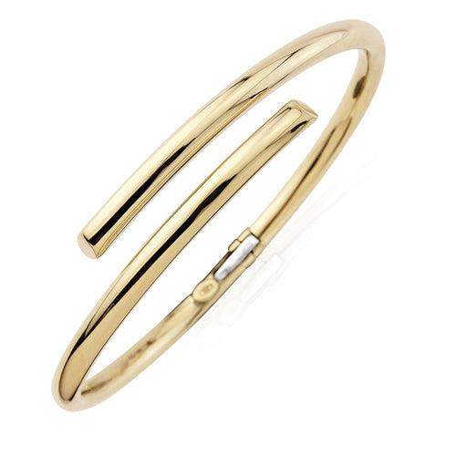 9CT Polished Round Sectioned Tubing Crossover Bangle