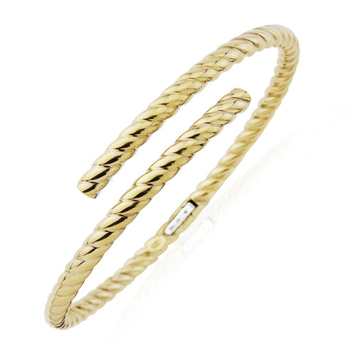 9CT Oval Tube Twisted Crossover Bangle
