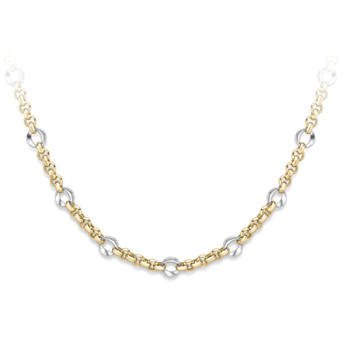 9ct Two Tone Fancy Gold Necklet