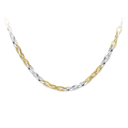 9CT White and Yellow Gold Contemporary Link Necklace