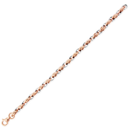 9CT White and Rose Gold Fancy Link Bracelet